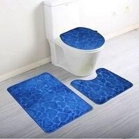 3Pcs Set Home Bathroom Door Floor Mat Pad Set Soft Coral Fleece Bath Mat Pedestal Mat