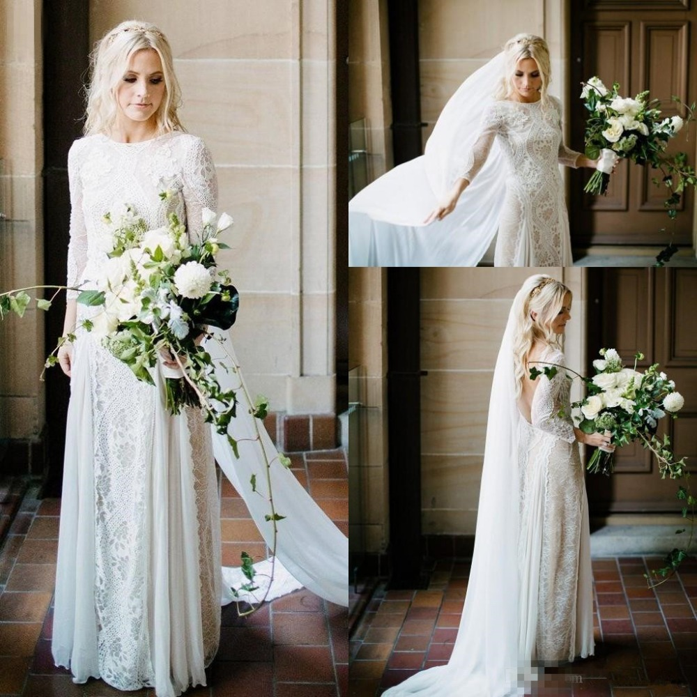 Vintage Boho Chic Wedding Dress 2019 Lace Robe Mariee Long Sleeve Open Back Country Wedding Gowns