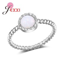 Charm 925 Sterling Silver Simple Round Zircon White&Pink Fire Opal Rings For Women Bridal Engagement Jewelry Big Promotion(China)