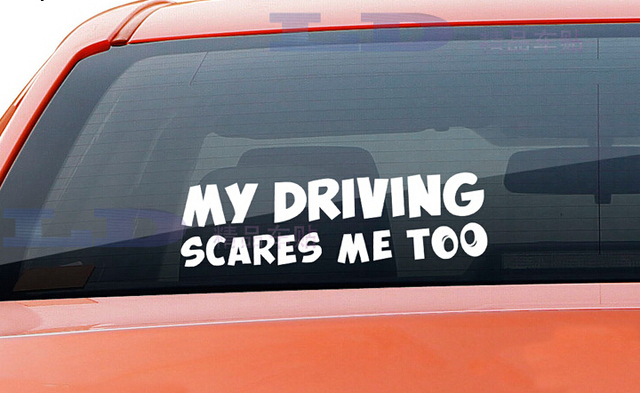 Craft paper good quality funny car stickers my driving scares me too car window vinyl