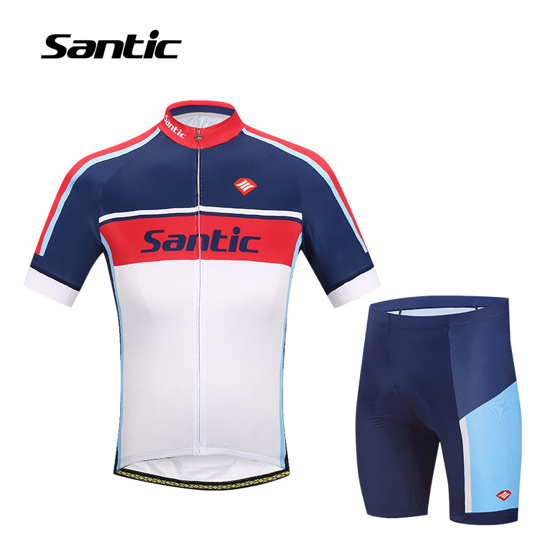 SANTIC Men's Cycling Jersey Sets Short Sleeve Cycling Wear Full Zipper Clothing Breathable Quick-Dry Cycle Set WM6CT056 2015 fdj cycling jersey quick dry cycling sets short sleeve jersey and 3d gel bib short with sleeve breathable bicycle wear