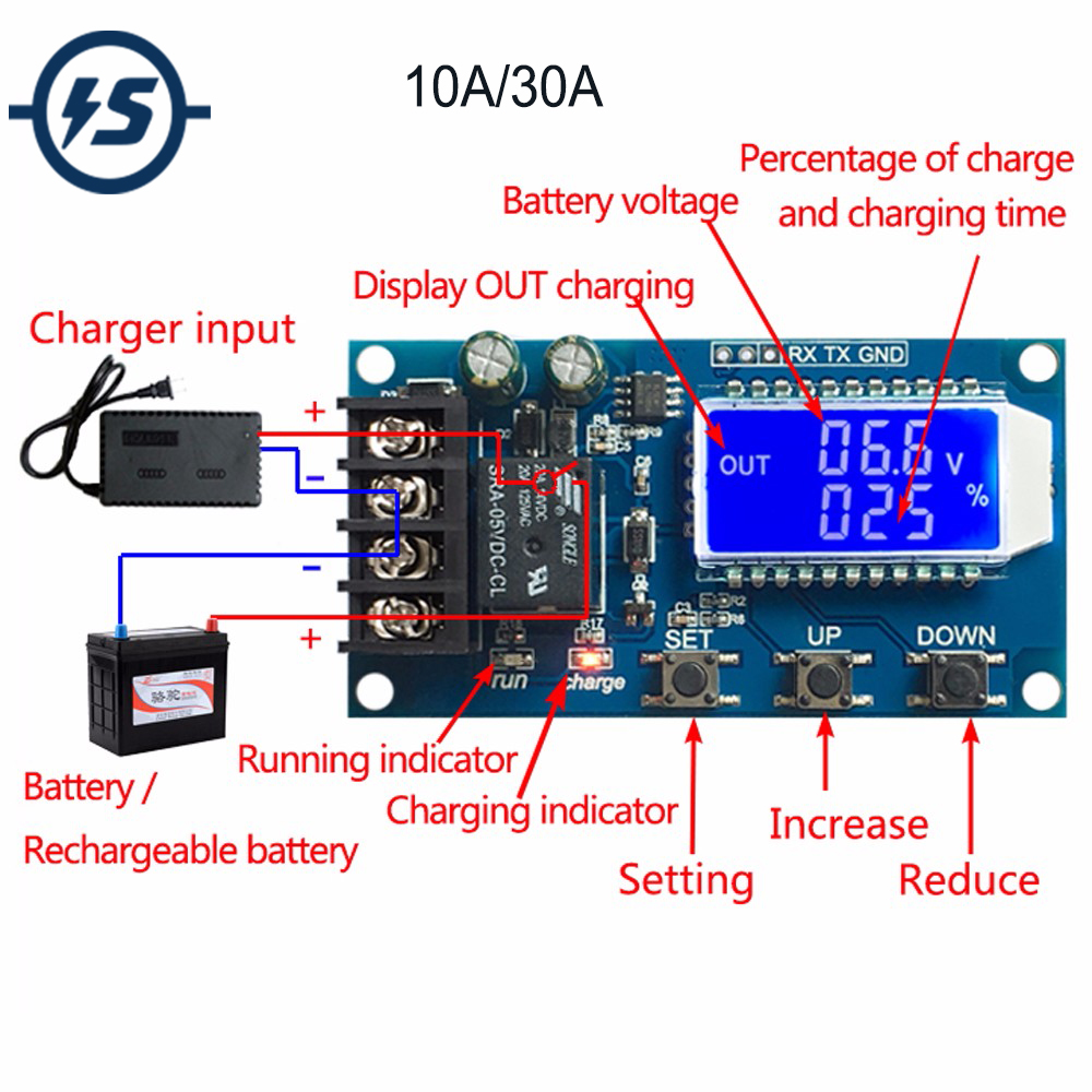 Li-ion Lithium Battery Charger Board Charger Module+Protection BMS Protection Board Module LCD Display 10A/3A DC 6V-60V