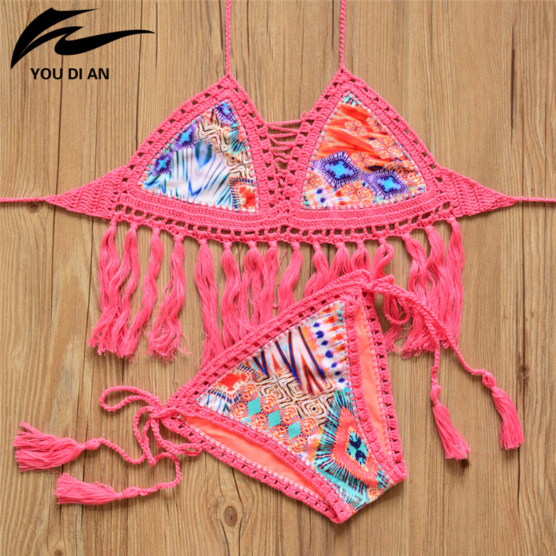 c26fb61b56997 Crochet Bikini Swimwear Women 2017 Sexy Brazilian Halter Tassel Bikini Set  Handmade Knitted Swimsuit Bathing Suit Female Biquini
