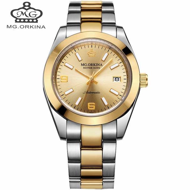 154d079ee1b Luxo ORKINA Automatico Relogio Masculino Homens Relógios Mecânicos de Ouro  Da Moda À Prova D
