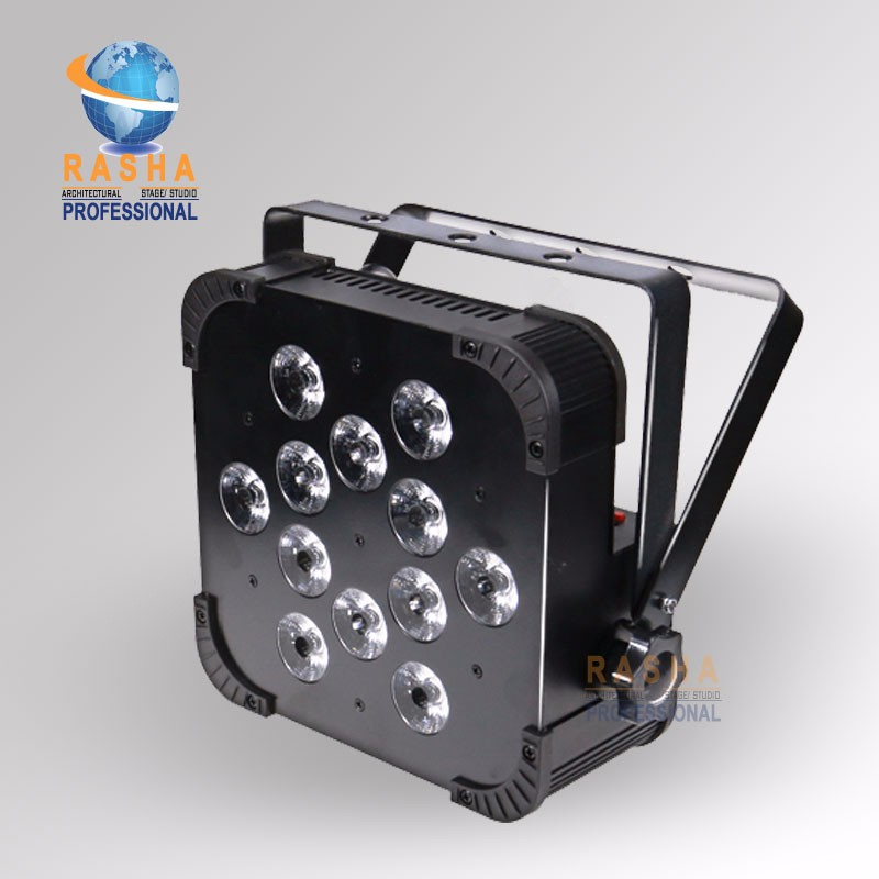 16X Rasha Quad V12-12pcs*10W 4in1 RGBW/RGBA LED Slim Par Profile,LED Flat Par Can,Disco Stage Event Light rasha quad factory price 12 10w rgba rgbw 4in1 non wireless led flat par can disco led par light for stage event party