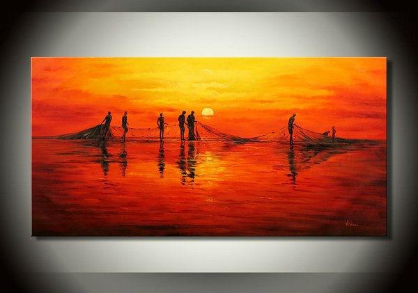 Sunset Sea Landscape, Fishermen Net Fishing Scene, 100