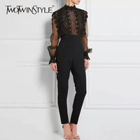 TWOTWINSTYLE Sexy Perspective Women's Jumpsuits High Waist Long Sleeve Patchwork Mesh Lace Jumpsuit Female 2018 Autumn Fashion
