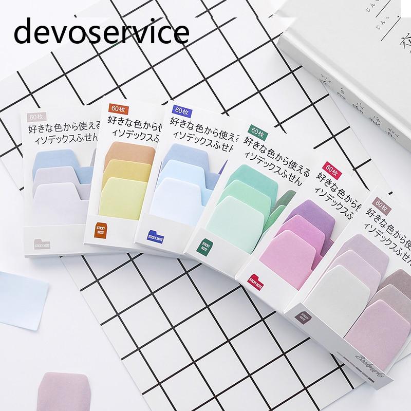 रंग ग्रेडिएंट नोटबुक इंडेक्स मेमो पैड कवाई सेल्फ-एडेसिव स्टिकी नोट्स पेपर प्लानर स्टिकर बुकमार्क संदेश नोटपैड