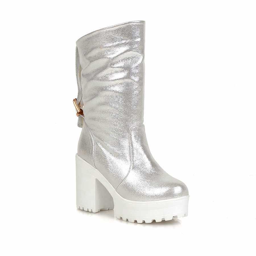 Yeni marka 2018 İlkbahar sonbahar kadın çizmeler platformu yüksek topuklu kalın topuk rahat ayakkabılar kadın kaliteli