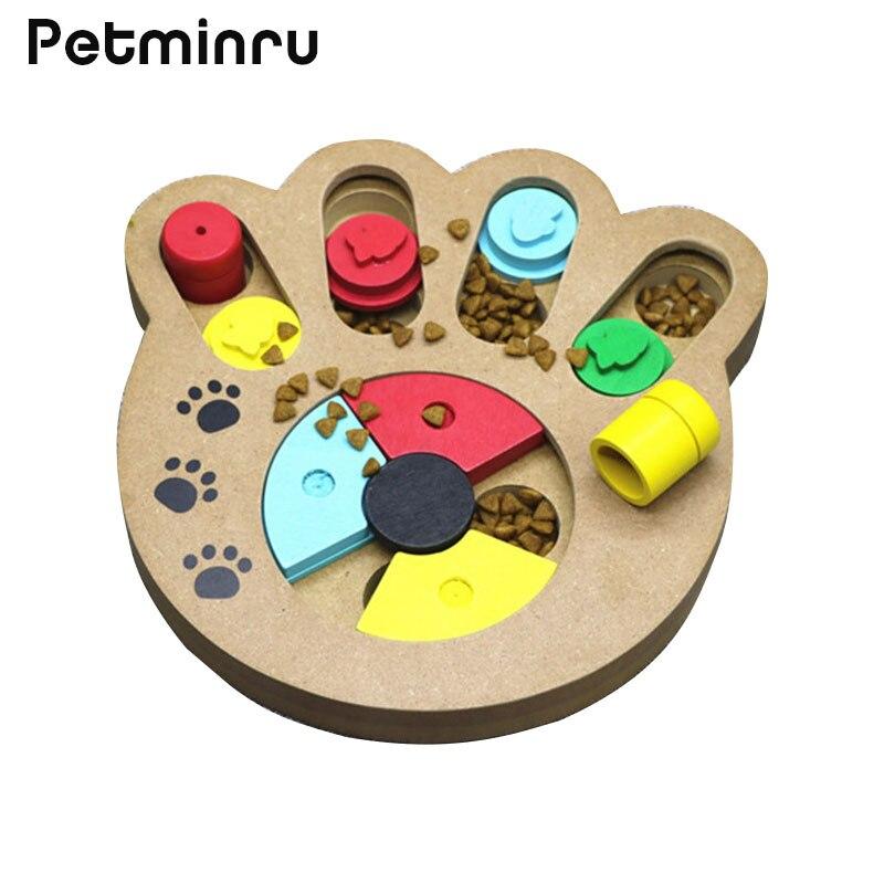 Petminru кошки Еда обработанных деревянных Автоматические кормушки для собак Щенок любимая игрушка чаши ПЭТ кости лапы головоломки интерактивные игрушки