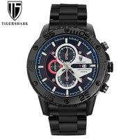 Luxury Men Sport Watches TIGERSHARK Brand Men Quartz Watch Red Stainless Steel Chronograph Wristwatches Gift Box