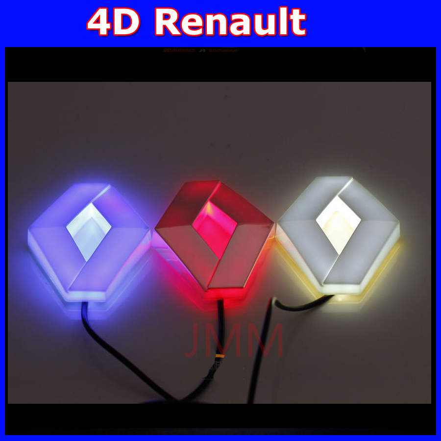 auto renault 4D logo light LED Cold light logo bulb decoration emblem for renault KOLEOS Megane latitude badge sticker lamp 1 set 4d car decoration logo lights led auto badge emblem lamp led waterproof blue red white for mercedesbenz