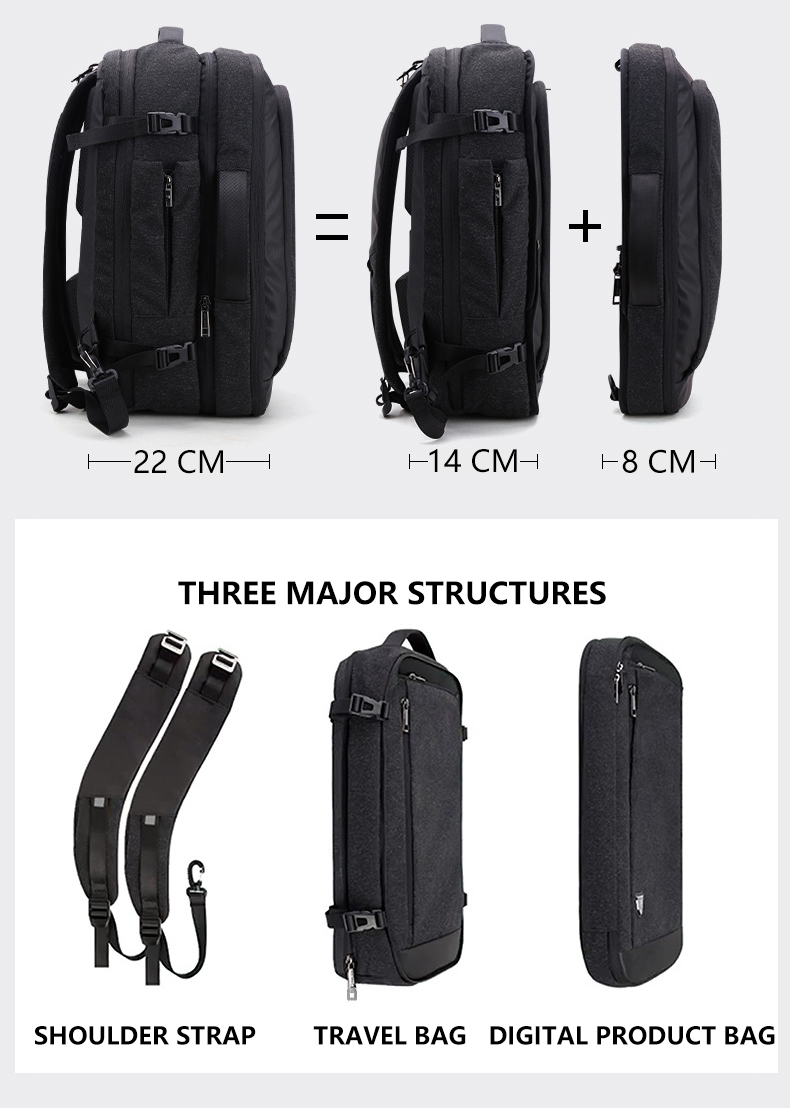Большой емкости 17 дюймов рюкзак для ноутбука Многофункциональный водонепроницаемый мужской бизнес путешествия Back Pack черный мужской качественный компьютер сумки - 2