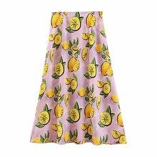 Women Sweet Lemon Print Split Midi Skirt Side Zipper Fly Elegant Female Elegant Summer Mid Calf Skirts FFZBQ63