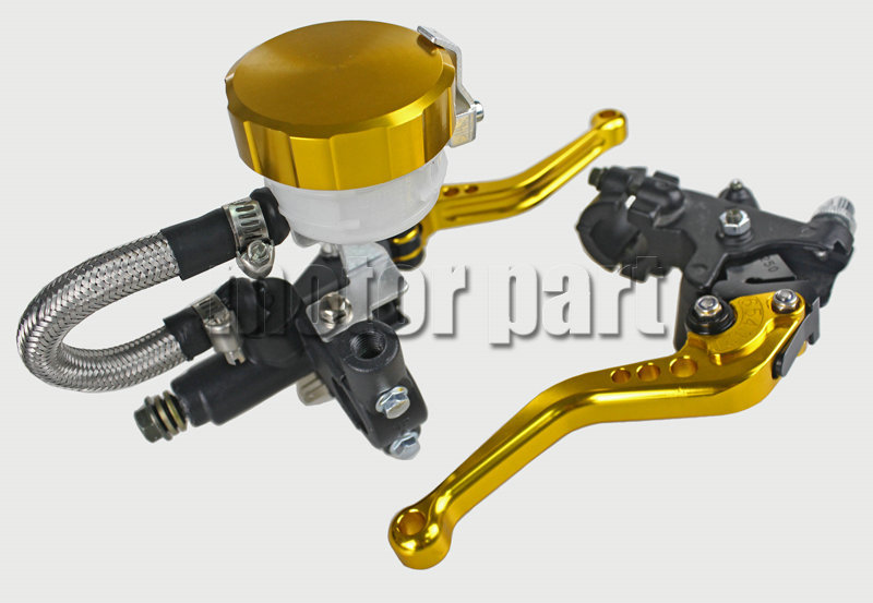 Gold Color 22mm 7/8 Universal Handlebar CNC Brake Clutch Levers Tank Cylinder Kit With Fluid Oil Reservoir Set For Triumph universal motorcycle cnc clutch brake pump fluid tank reservoir oil cup