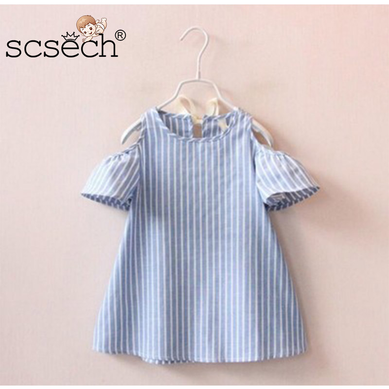 Baby Girl Dresses Vertical Striped Dress Off-Shoulder Girls  A-Line Dresses Girls Clothes Princess Bow Dress S8HQ03