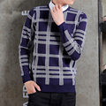 Man Knitwear Good Quality Long Sleeve Lattice Pullover Students Warm Winter Classic Plaid Check Round Neck Fashion Men Sweater