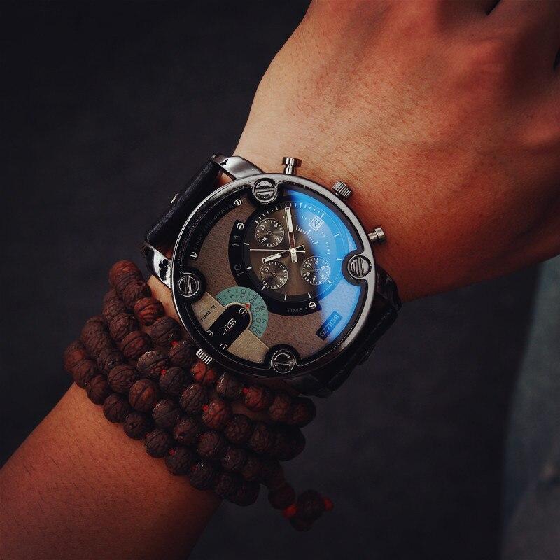 Mode Grand cadran JIS Marque Haute Qualité Bleu Ray Noir Brun En Cuir Bande Coque En Acier Hommes Mâle Quartz Montre Montres horloge