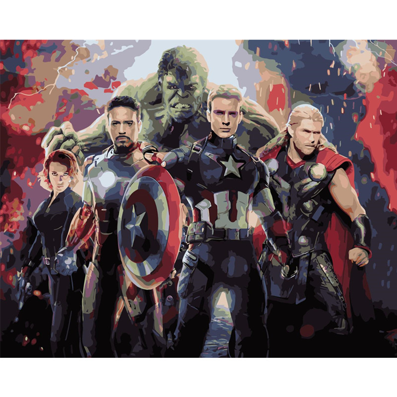 The Avengers Hand Made Paint High Quality Canvas Beautiful Painting By Numbers Surprise Gift Great Accomplishment