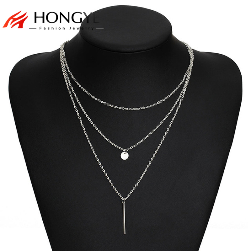 2018 Women's Fashion Jewelry Collar 1pc European Simple Gold Silver Color Multi Layers Bar Coin Necklace Clavicle Chains Charm