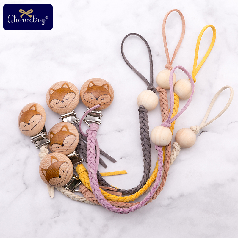 Wooden Teether Weaving Pacifier Clips Chain Braided Thread Leather Engraved Fox Pacifier Clip Dummy For Kid Feeding Products Toy