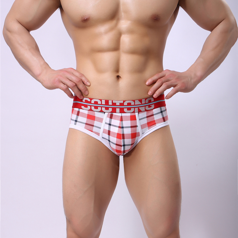 AIIOU Men Underwear Plaid Print Fashion Briefs Pants Cotton Breathable Colorful U Convex Design Sexy Male Men Briefs Underpants
