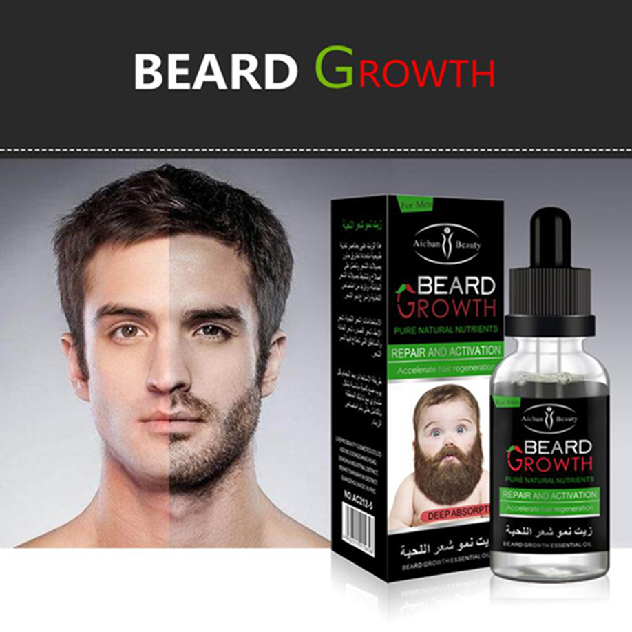 NEW Fashion Men Liquid Beard Growth Essential Oil Fast Enhance Facial Whiskers Nutrition Moustache Beard Repair Growth Wholesale