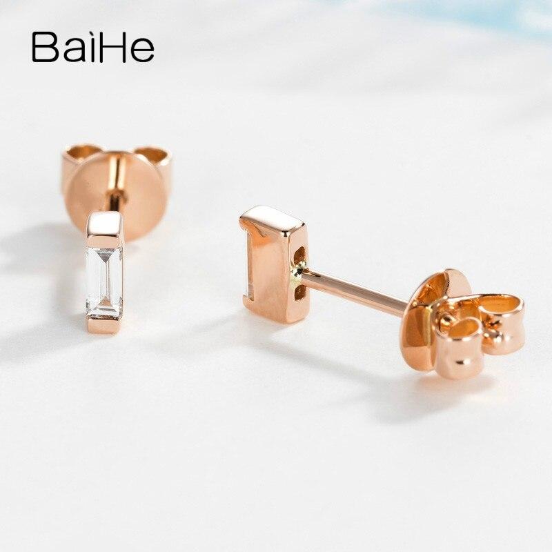 BAIHE Solid 14K Rose Gold 0.12ct H/SI Natuurlijke Diamanten Engagement Trendy Fijne Mode sieraden Man Vrouwen Gift stud Oorbellen - 2