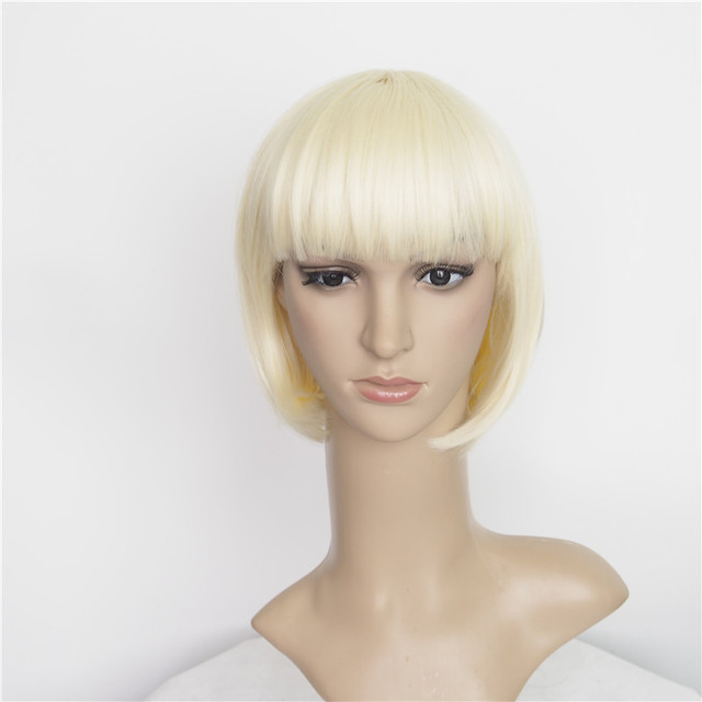 Amapro Taylor Swift's Hairstyle Synthetic Blonde Wig 10 inch Short BOB Cut Straight Hairstyle Lace Front Cap 8a Grade