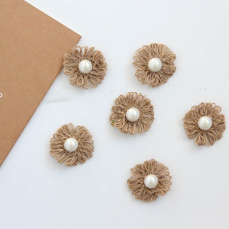 Doreenbeads 6pcs burlap flowers diy craft supplies garment for Wedding craft supplies