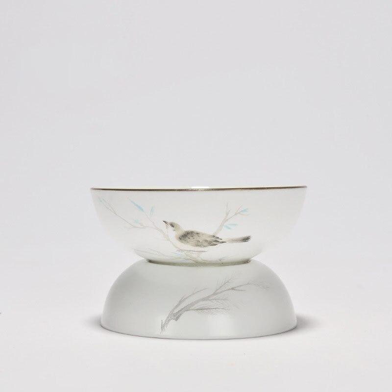 Handpaint Bird Ink Painting Chinese High Grade Ceramic Porcelain Tea Set Tea Strainers Glaze Kiln Leakage Filter with Base Tray