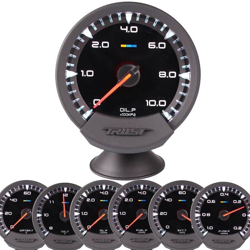 Voiture Auto 12 V 60mm 2.5 pouces 7 couleurs universel jauge de presse à huile compteur de pression d'huile avec capteur et support RPM jauge de température d'eau Volt