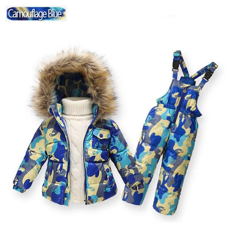 Enfants hiver vêtements ensemble garçons Ski costume fille doudoune manteau + combinaison ensemble 1-6 ans enfants vêtements pour bébé garçon/bébé fille