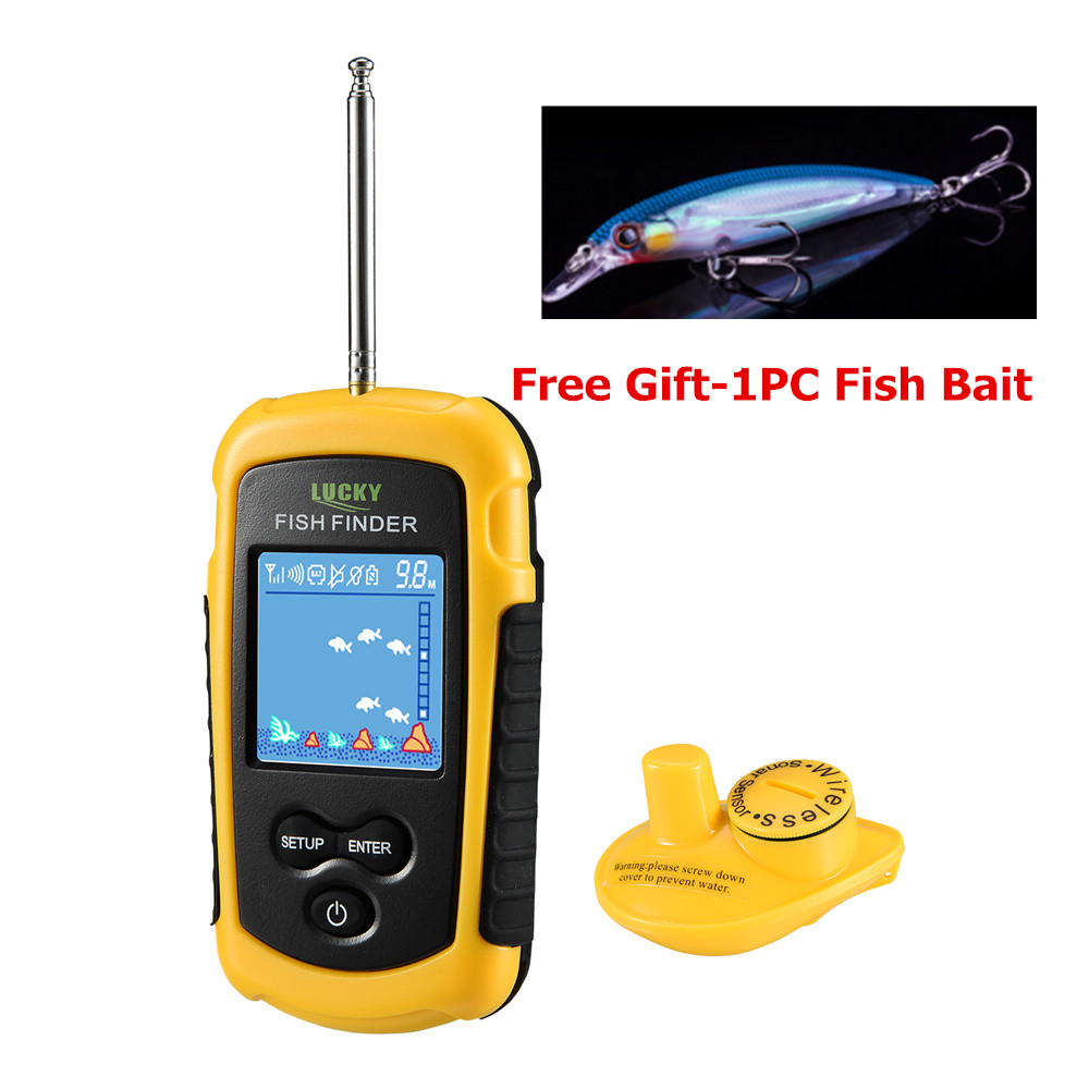 Lucky FFW1108-1 Portable 100m Wireless Fish Finder Alarm 40M/130FT Sonar Depth Ocean River lucky ff3308 wireless wifi sonar fish finder with 3 5 inch colorful tft display 40m depth capability