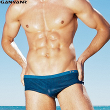 GANYANR Brand Gay Mens Swimwear Swimming Trunks Plus Size Swimsuit Swim Briefs Sexy Bikini Boardshorts Waterproof Bulge Pouch