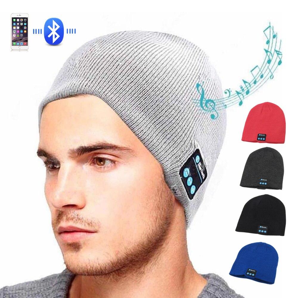 Sport Drahtloser Bluetooth Headset Musik Hut Bunte Intelligente Kappe Kopfhörer Beanie Warme Winter Hut Mit Lautsprecher Mic Kopfhörer