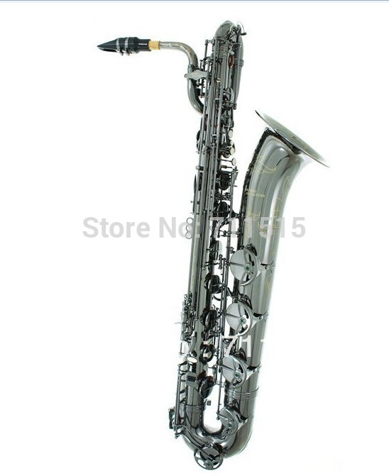 (SELMER) baritone saxophone professional woodwind musical instruments black nickel surface gold plated with case play Jazz Music
