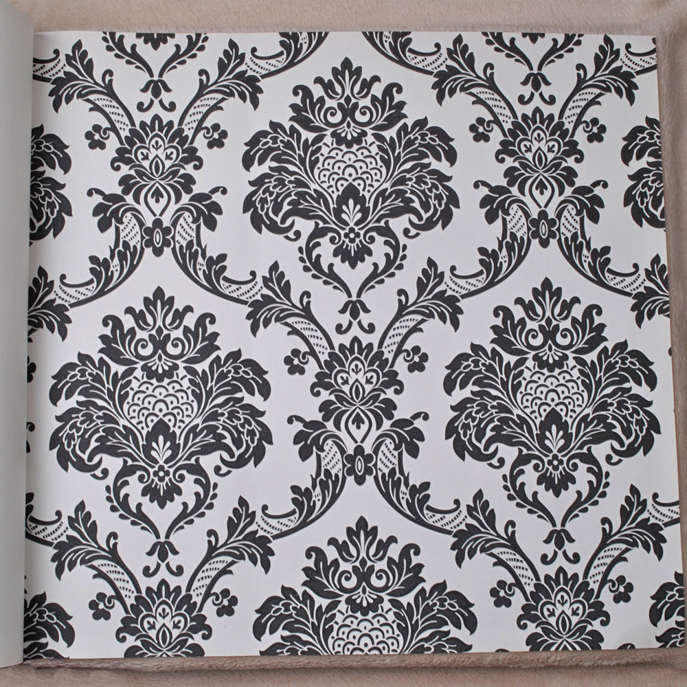 aliexpresscom buy european style black white damask wallpaper contemporary textured pvc wall paper waterproof from reliable wall paper suppliers on paper - Contemporary Damask Wallpaper