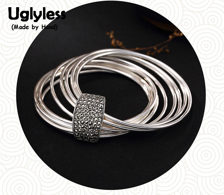 Uglyless Real 925 Sterling Silver Personalized Multi Circles Bangles Women Vintage Fine Jewelry Cool Marcasite Bijoux 1set=9pcs