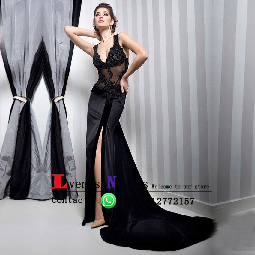 25a33db954c2 Robe De Soiree See Through Lace Corset High Slit Prom Dresses Sexy Deep V- neck Black Mermaid Evening Dress Long Evening Gown
