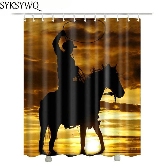 Texas Cowboy Shower Curtain Polyester Waterproof New Design 2018 Drop Shipping Horse Bathroom