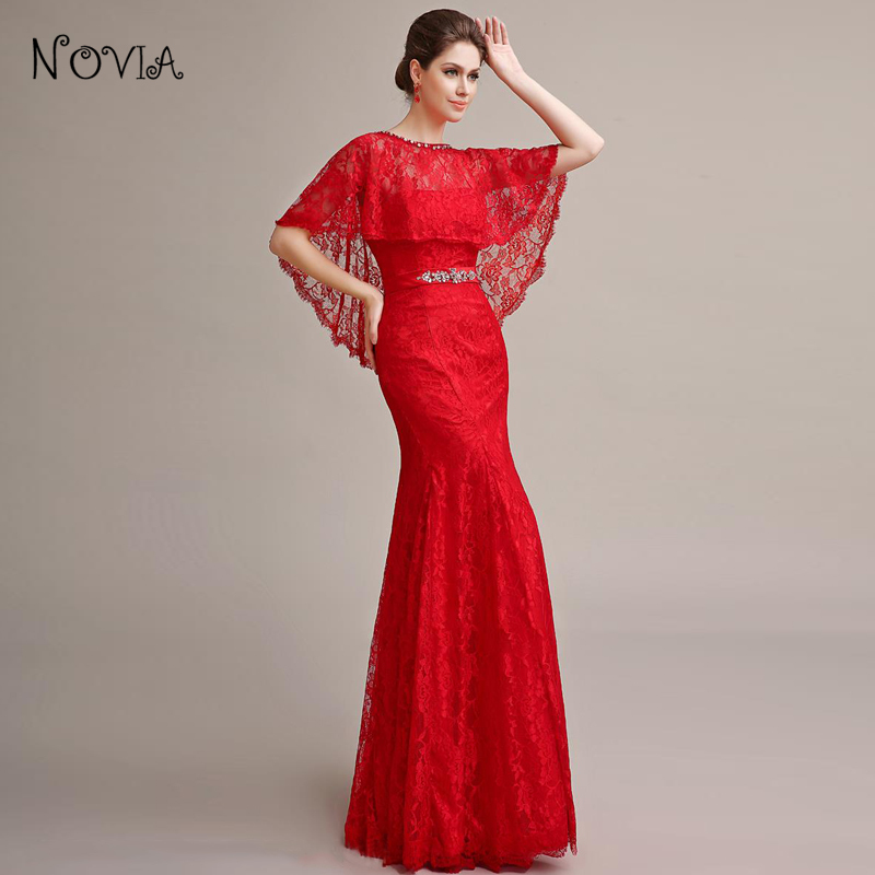 6c6c9f4f480a fashion elegant long evening dresses with Shawl strapless mermaid red lace  women dinner dress for formal party vestidos-in Evening Dresses from  Weddings ...