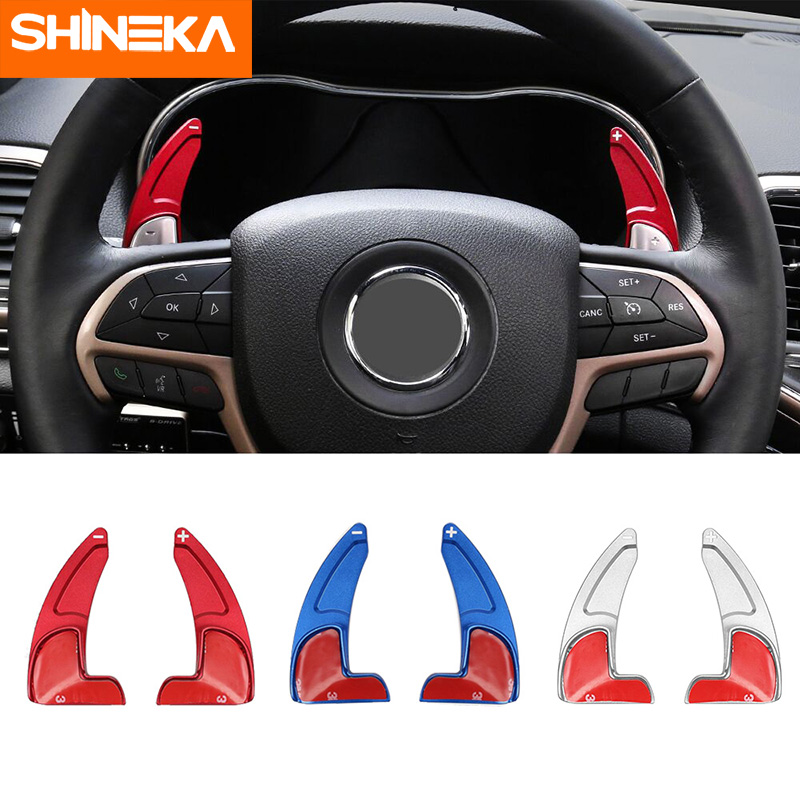 SHINEKA Interior Mouldings For Jeep Grand Cherokee 2014 Steering Wheel Shift Paddle Shifter Trim Cover For