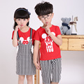 2016 New Summer Kindergarten Class Service Primary School Uniforms Costume Cotton Short Sleeved Two Piece Children Clothing