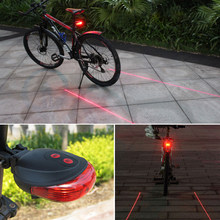 Bicycle Flashlight For Bicycle Light 5 Led 2 Lasers Beam Bike Light Safe Night Cycling Light Rear Flashlight Bike Lamp Taillight(China)