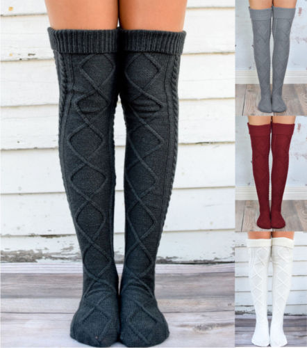 75399d6d33e Women Soft Winter Cable Knitted Knee High StockOver Knee Long Boot Warm Thigh  High Socks Fashion
