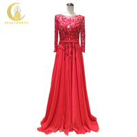 Rhine Real Sample Image Long Sleevs Beads Crystal Chiffon Elie Saab Design Formal Dress Evening Dress