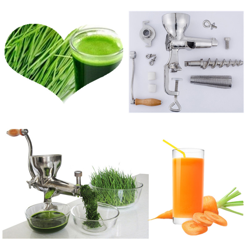 Hand stainless steel wheatgrass manual juicer auger slow squeezer fruits wheat grass vegetable orange juice extractor machine home use hand wheat grass juicer extractor cucumber tomato potato juice squeezer