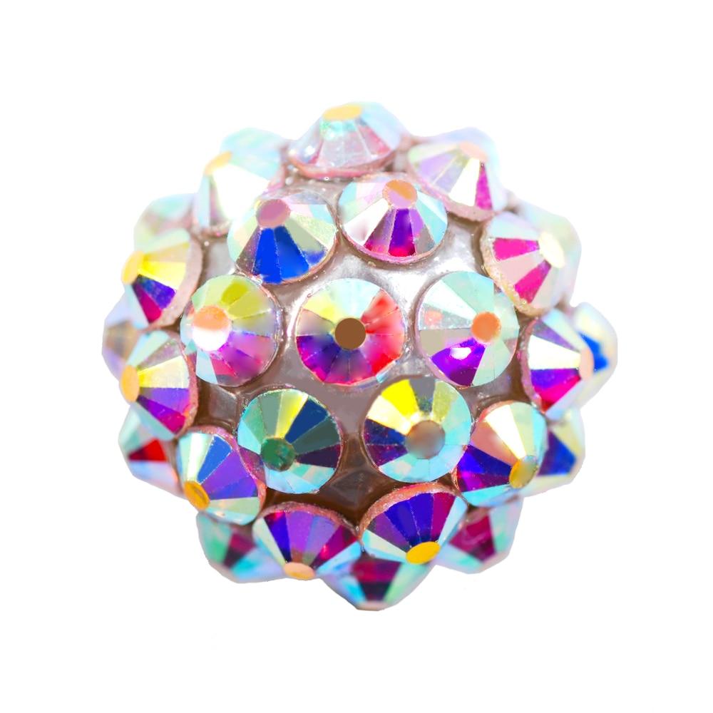 10Pcs Czech Crystal Rhinestones Pave Clay Half Drilled Disco Round Ball Beads