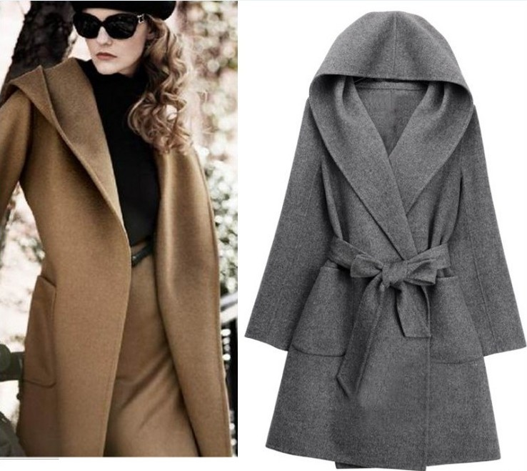 Uwback Women Coat Woolen Coat Long for Women Autumn Winter Warm Trench Coat Camel Mujer Belted Coat Hooded Cloak 2018 New,EB201
